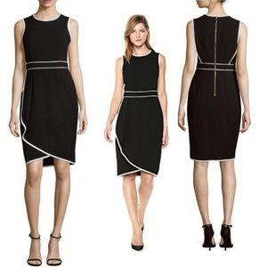 🆕️Calvin Klein Black & Cream Piped Sheath Dress